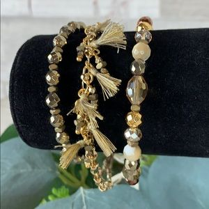 Chan Luu NWT 3 Piece Gold Mix Bracelet Set